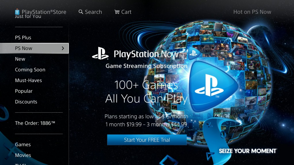 PS Now accessed via the PSN Store