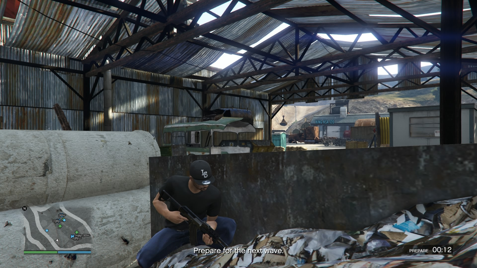 My online character holding an assault rifle.